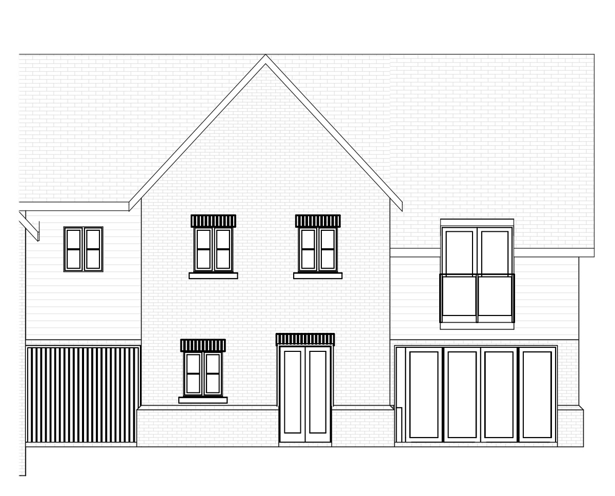 Elevation drawing of 'Broomfield' in the Wealden District. SJM Planning.