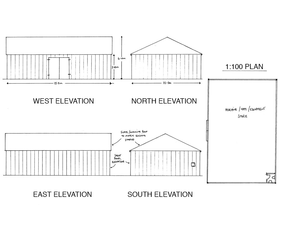 Elevation drawings for 'Broadford Oast' and their extended equestrian facilities. SJM Planning.