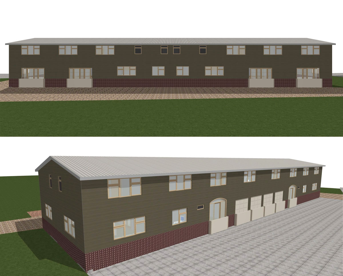 Exterior renders of 'Little Rhoden Barn' an agricultural barn conversion. SJM Planning.
