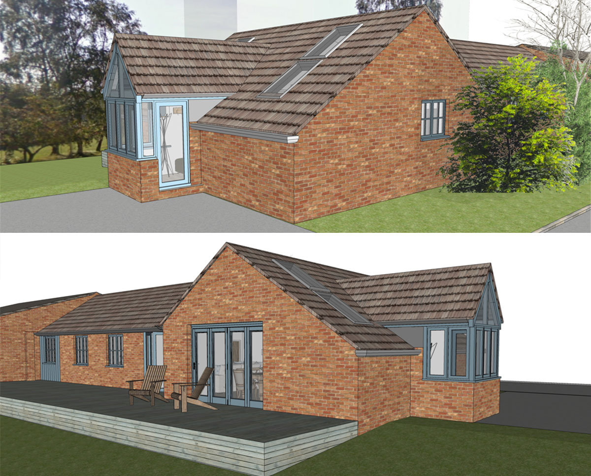 3D elevation renders of 'Stone Cross Farm' a new agricultural dwelling. SJM Planning.