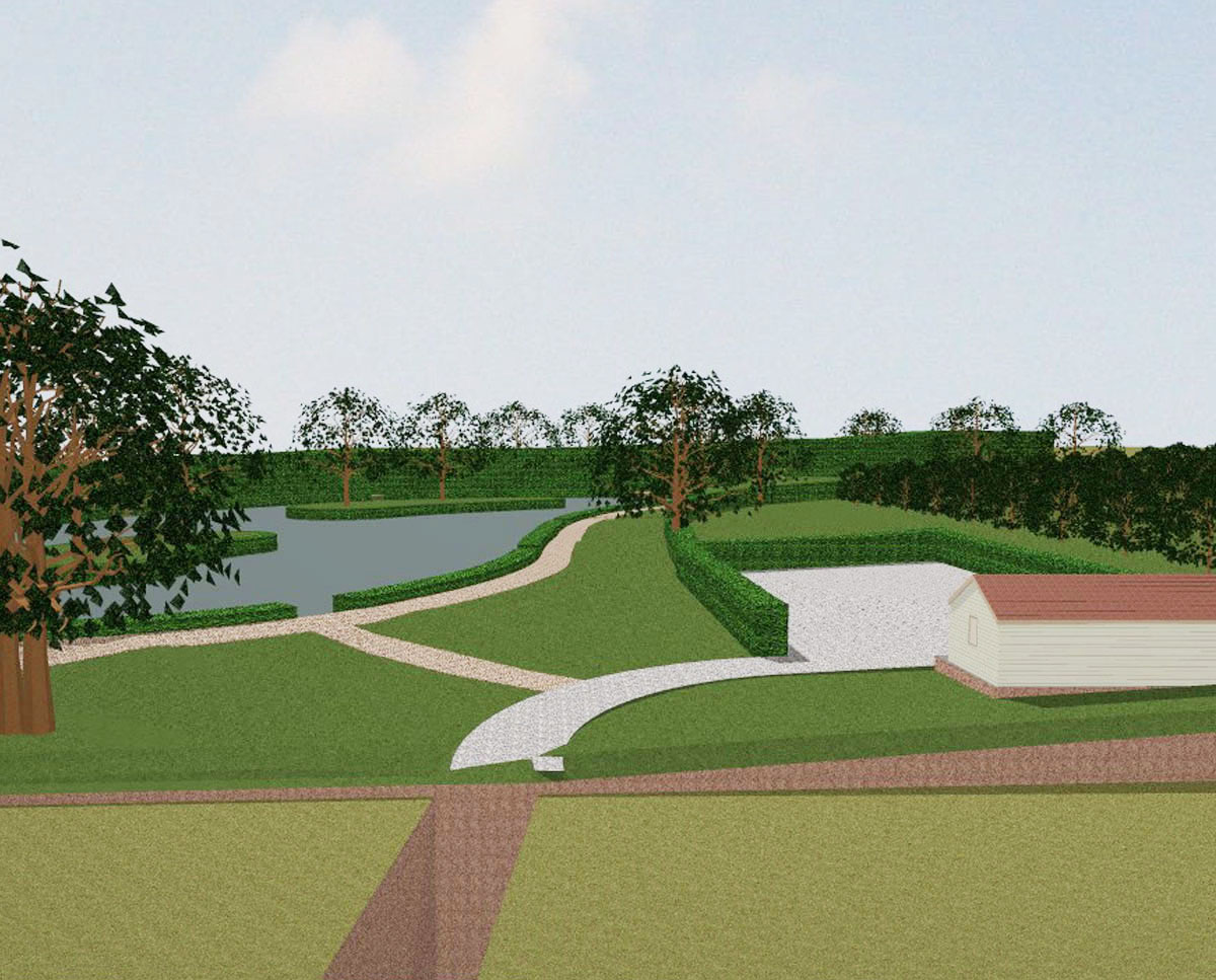 Artists impression of the completed 'Tricklebrook Fishery' after their commercial expansion plans. SJM Planning.