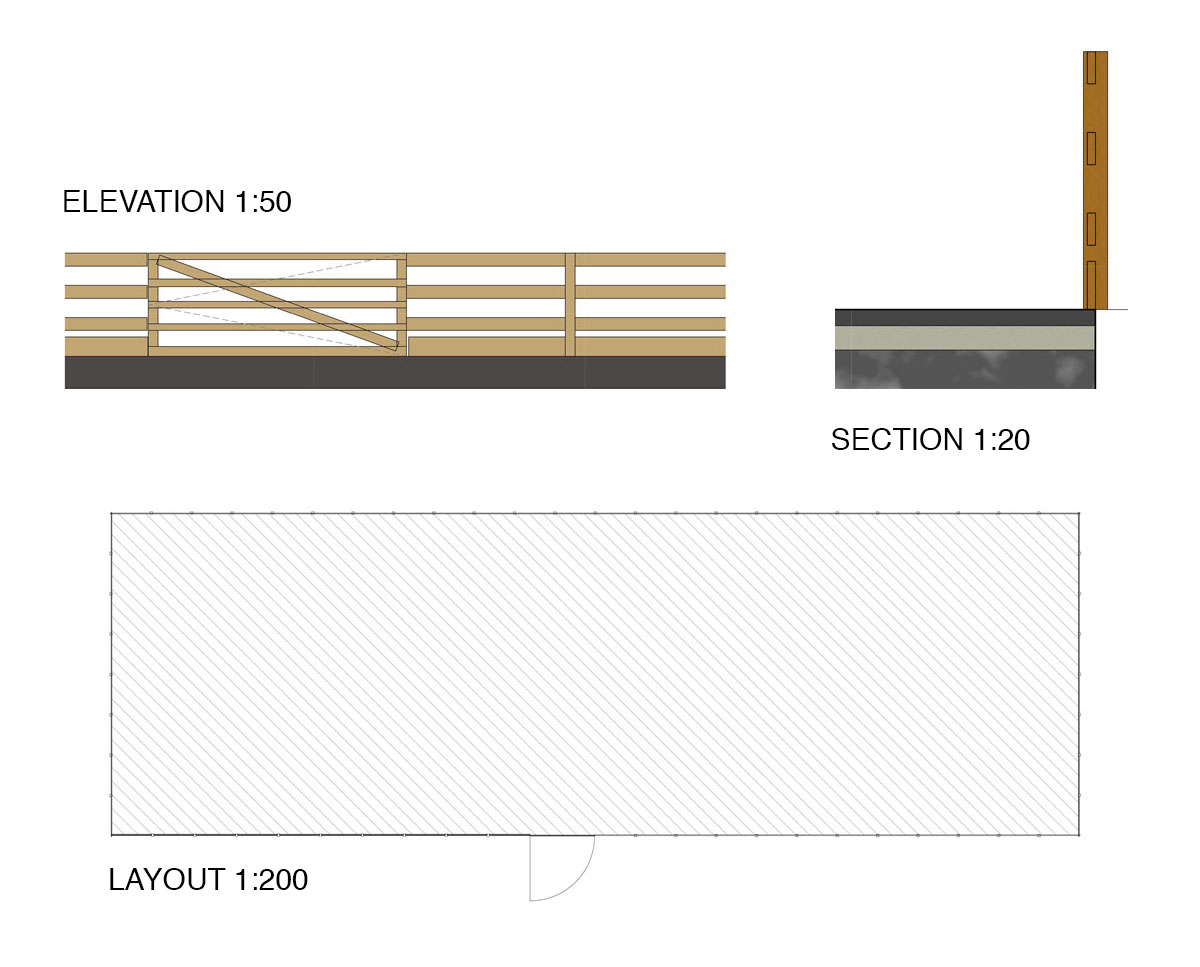 Elevation drawings of 'Whetsted Rd' and their extended equestrian facilities. SJM Planning.