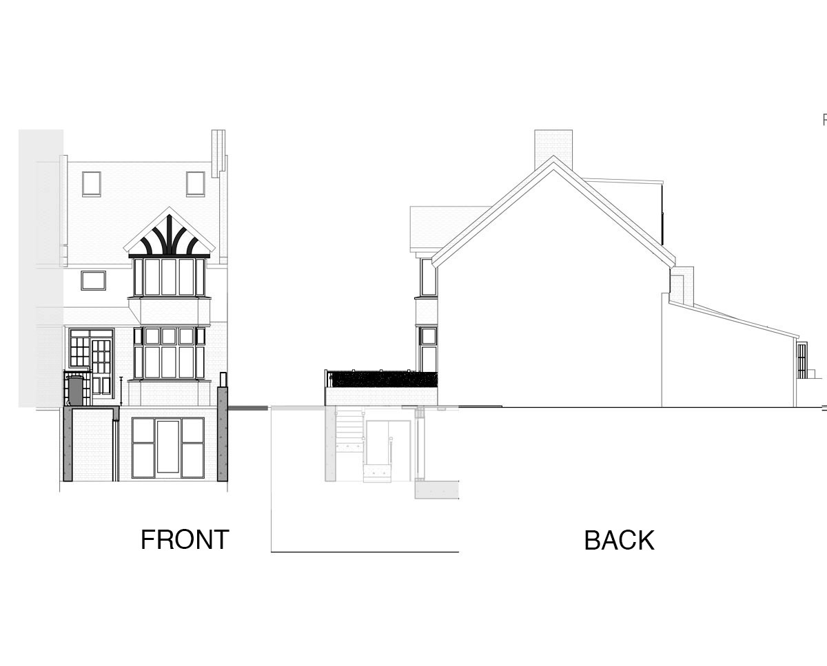 Elevation drawing of 'Curzon Rd' in the Maidstone. SJM Planning.