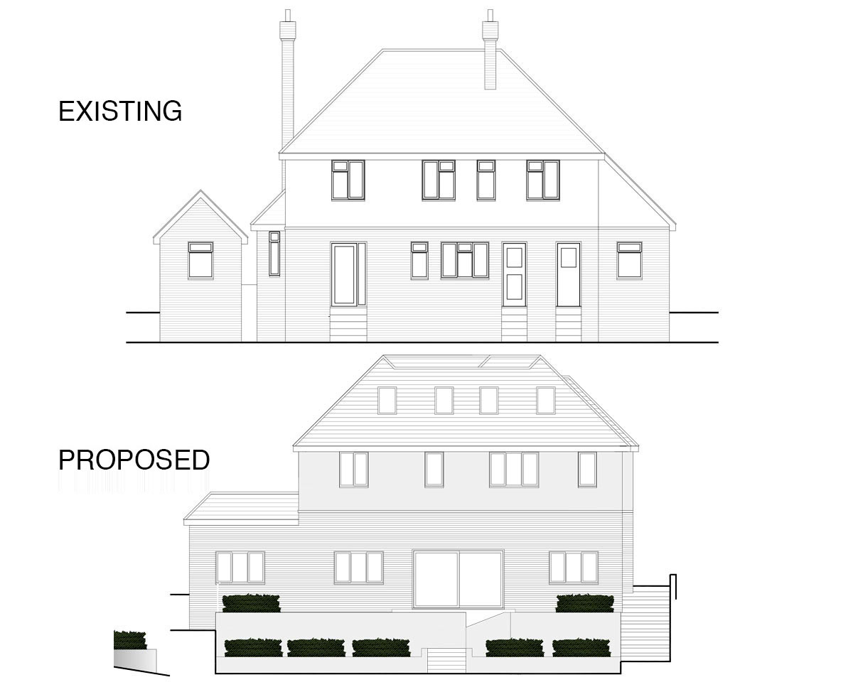 North elevations of 'Dry Hill Park Rd' in Tonbridge & Malling. SJM Planning.