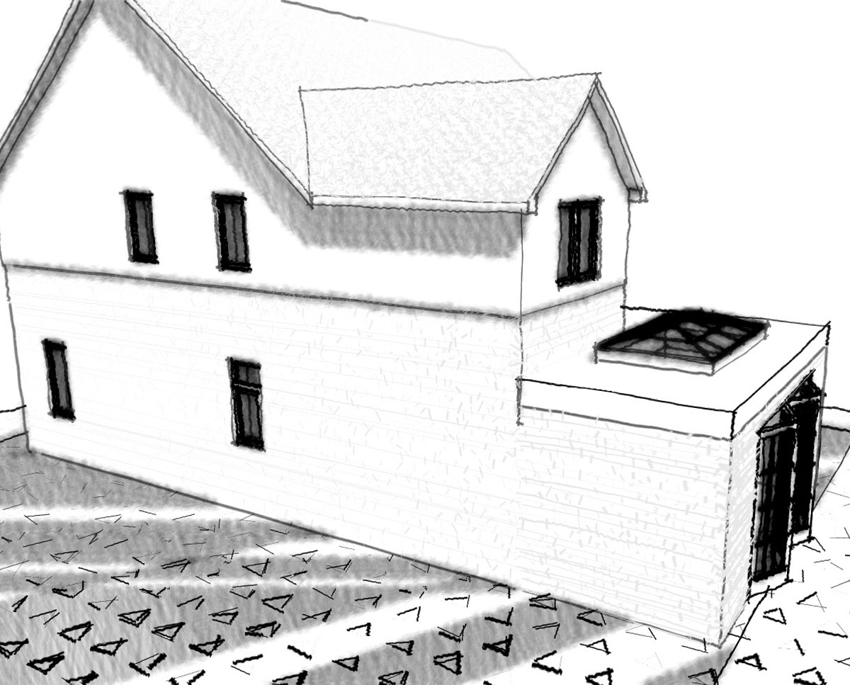 Side elevation render of 'Howland House' in Maidstone. SJM Planning.
