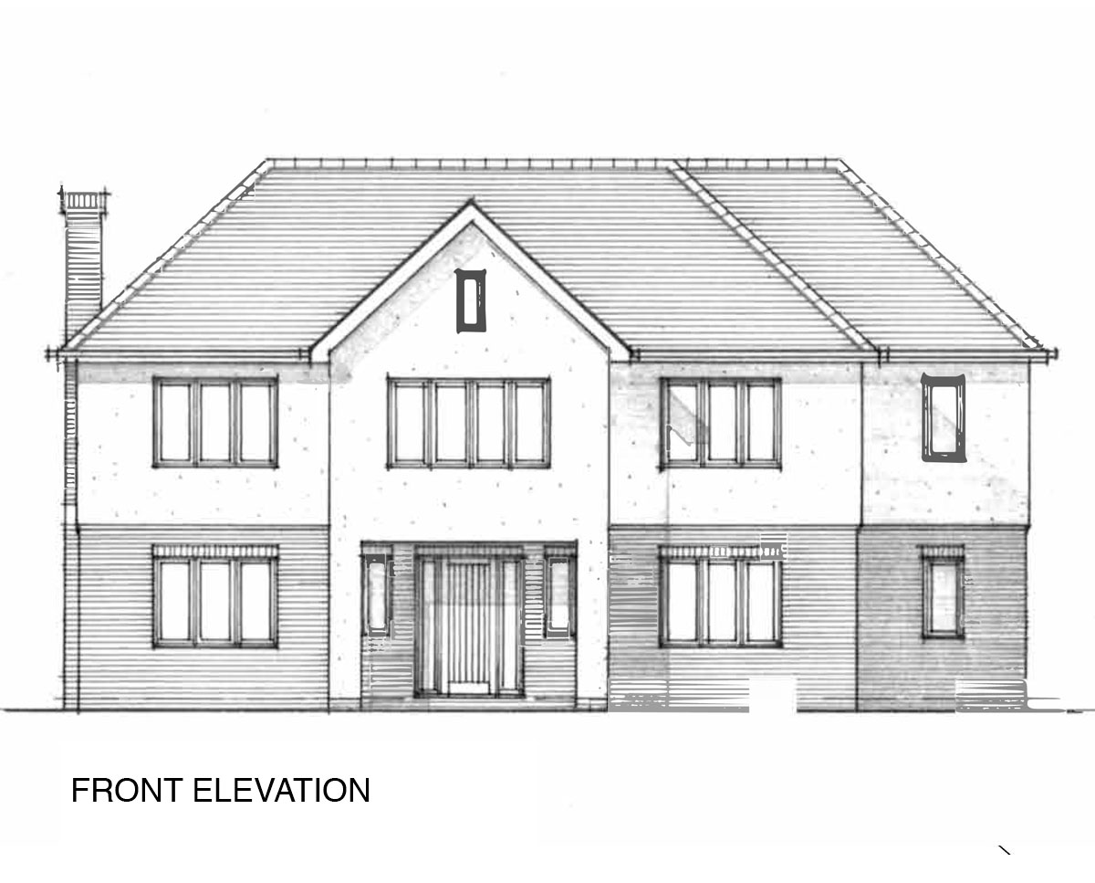 Front elevation drawing of 'Oakhill' in Sevenoaks. SJM Planning.