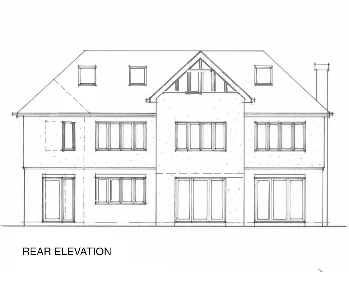 Rear elevation drawing of 'Oakhill' in Sevenoaks. SJM Planning.