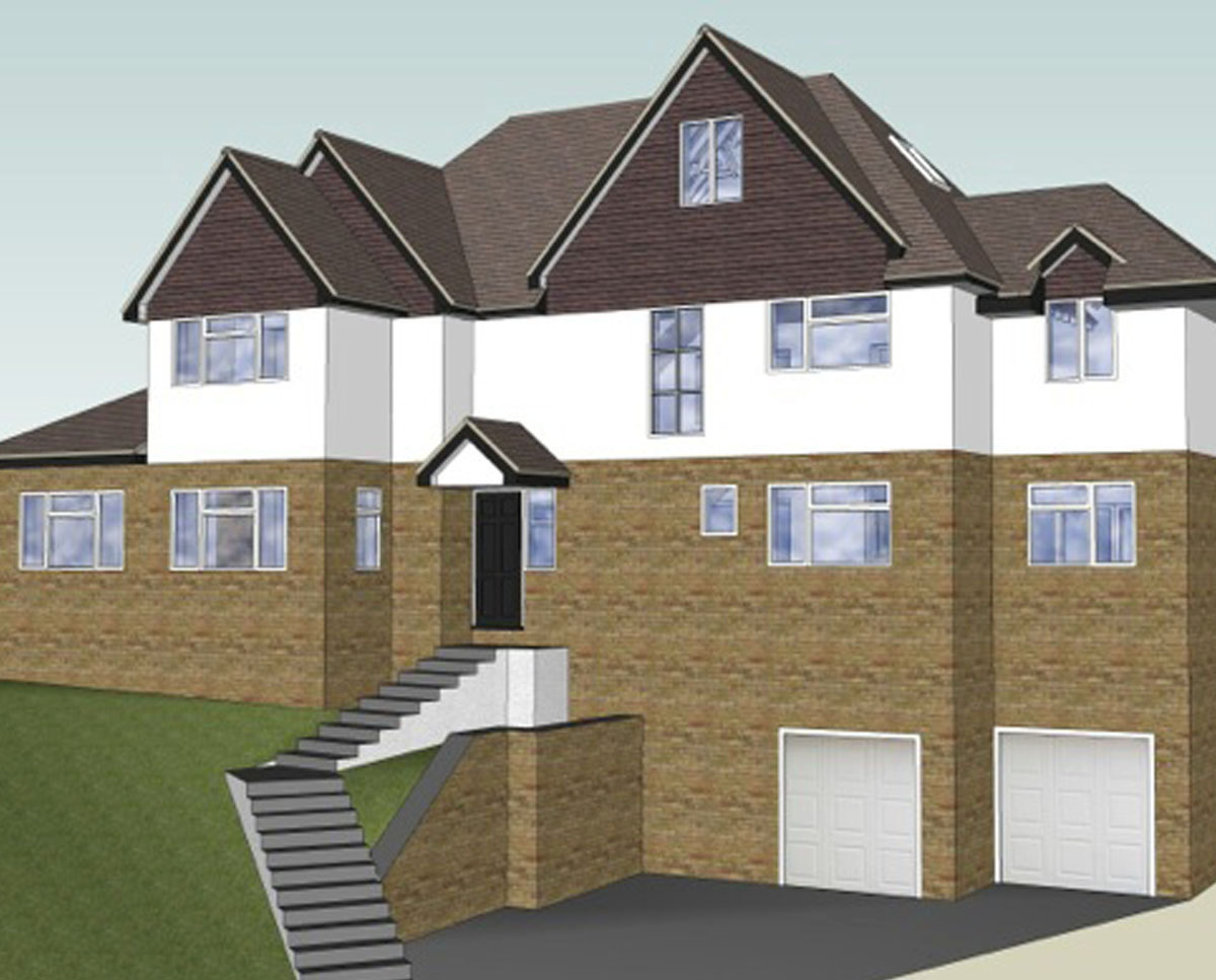 Elevation render of 'Upton House' in Surrey Heath. SJM Planning.