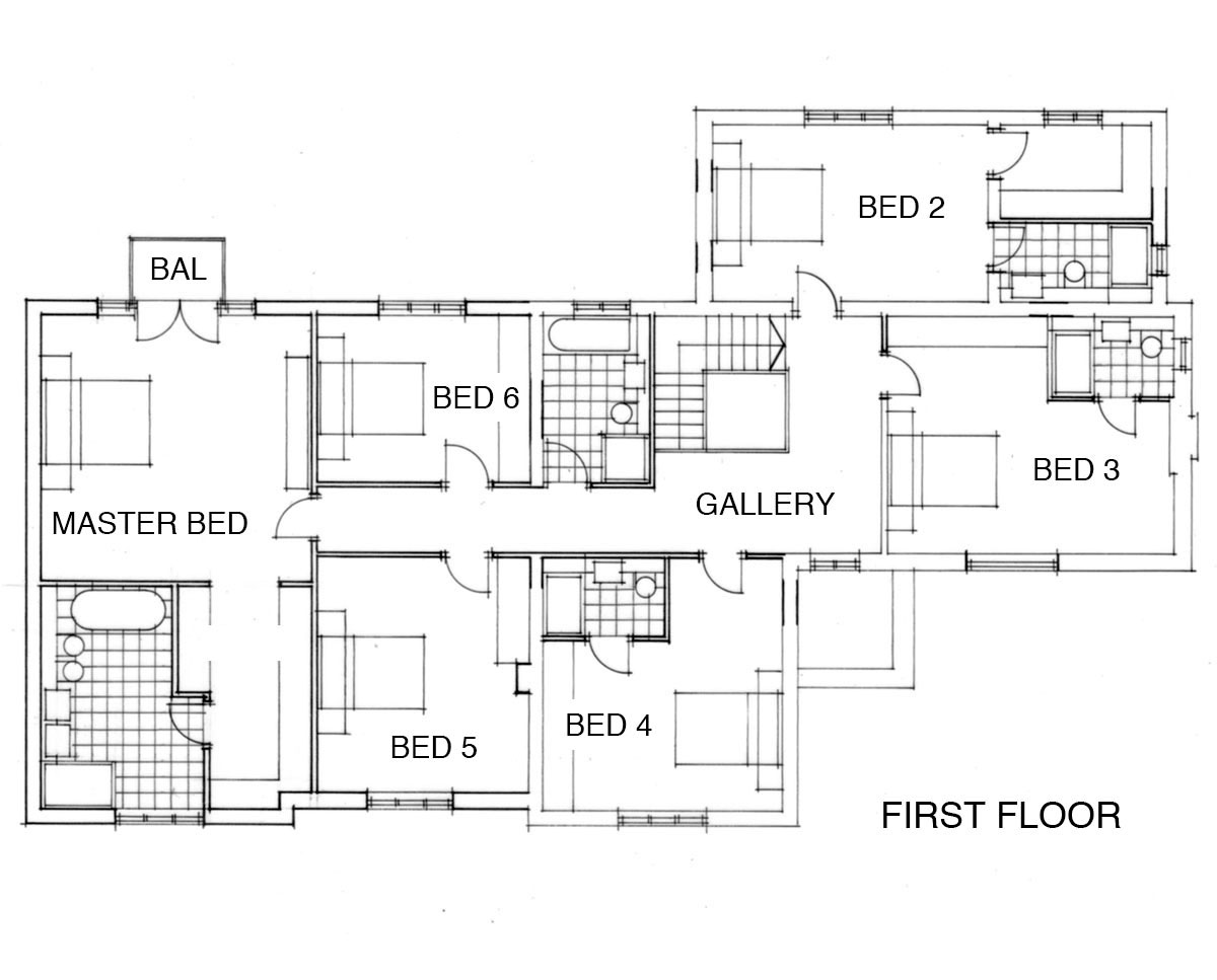 First floor plans of 'Warwick Park' in Tunbridge Wells. SJM Planning.