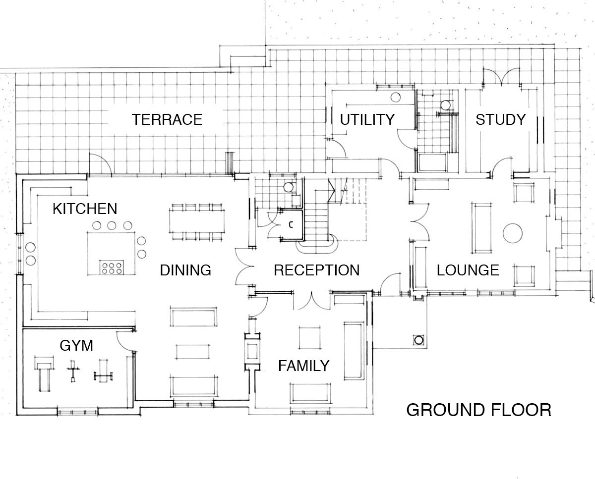 Ground floor plans of 'Warwick Park' in Tunbridge Wells. SJM Planning.