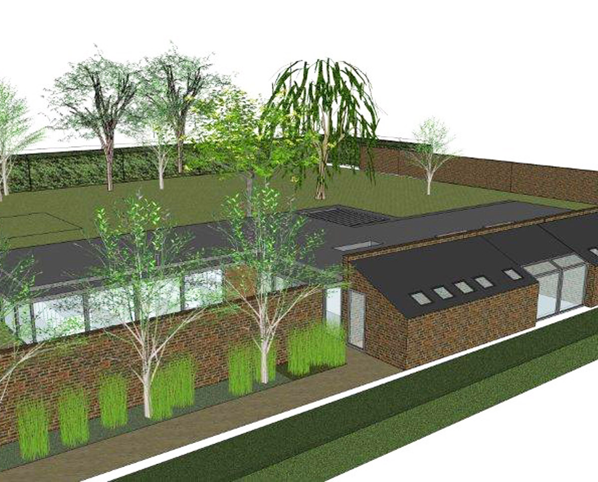 Aerial landscaping render of 'Four Seasons' in Tunbridge Wells. SJM Planning.