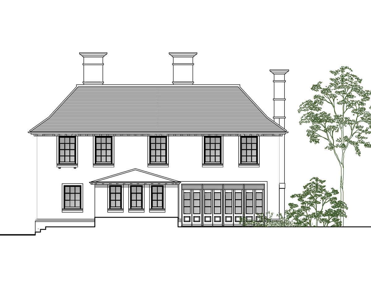 Rear Elevation of 'Green Tiles' in Tunbridge Wells. SJM Planning.