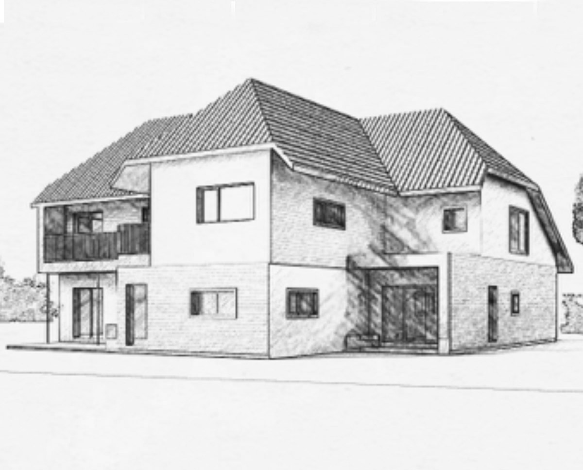 Rear Elevation of 'Hurst' in the Sevenoaks District. SJM Planning.