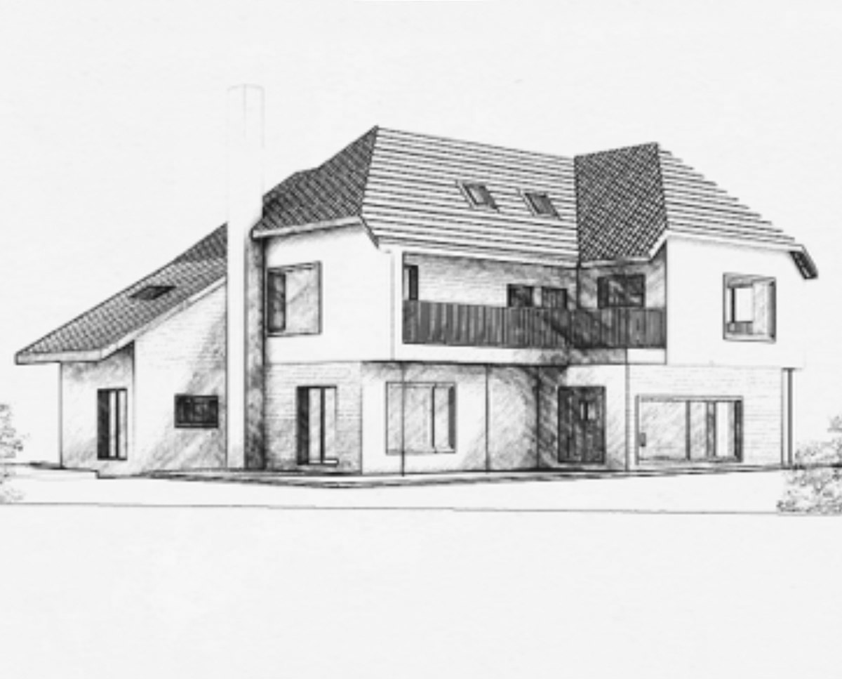 Front Elevation of 'Hurst' in the Sevenoaks District. SJM Planning.