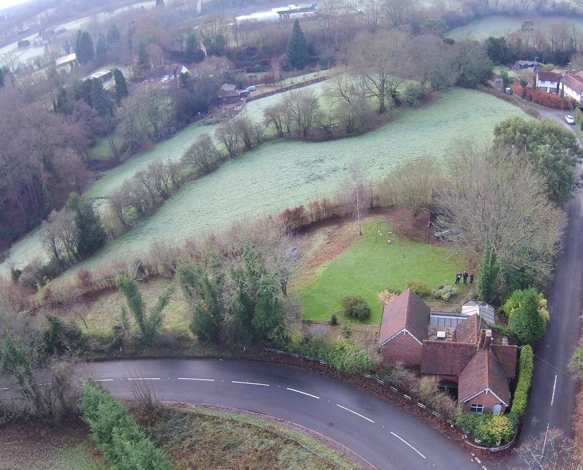 Aerial site photo of 'Paygate Cottage' plot in Tunbridge Wells. SJM Planning.