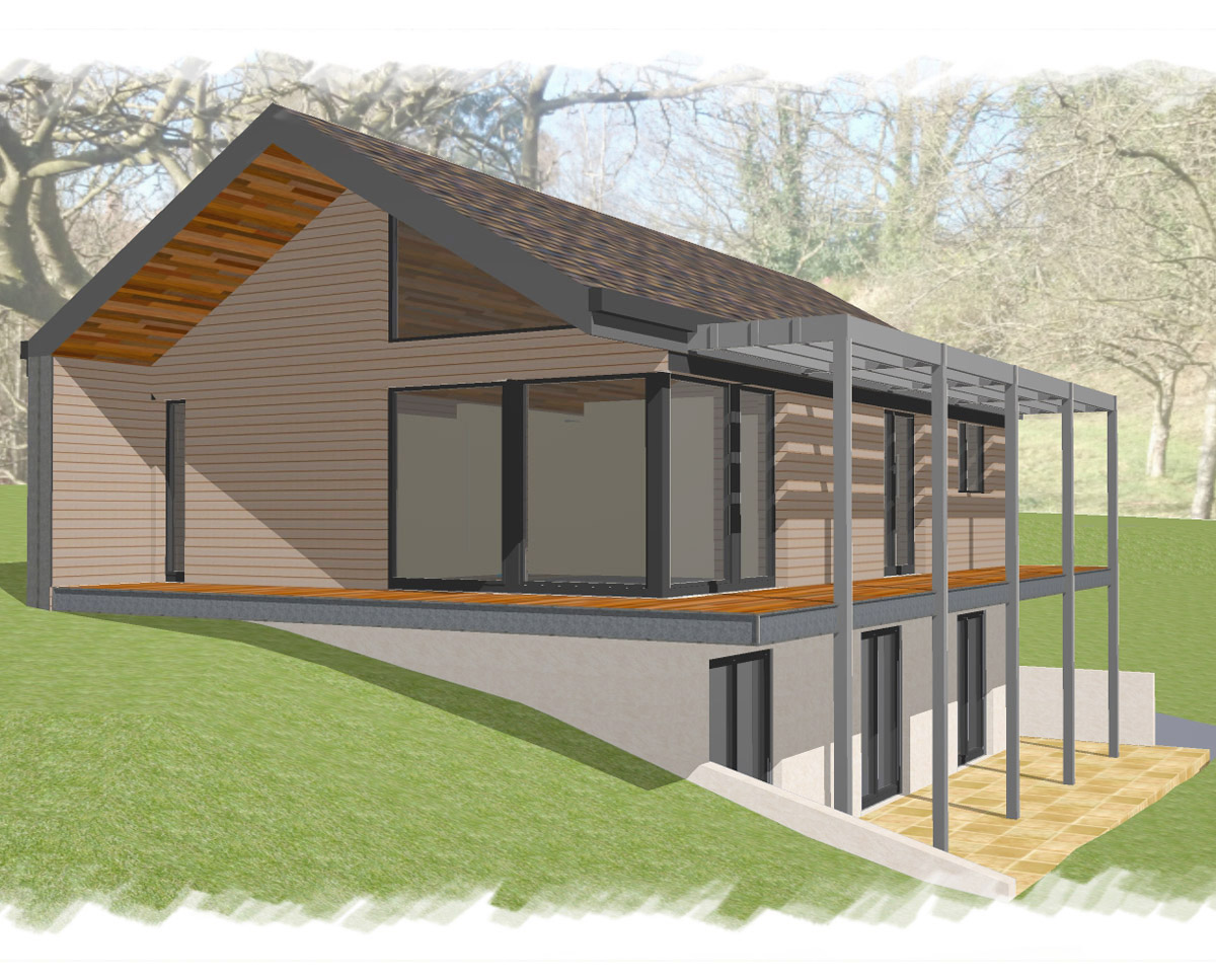 Elevation render of 'Paygate Cottage' in Tunbridge Wells. SJM Planning.