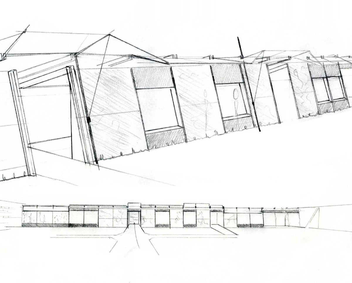 Hawkes Architecture's early sketch of 'Walled Garden' in the Wealden District. SJM Planning.