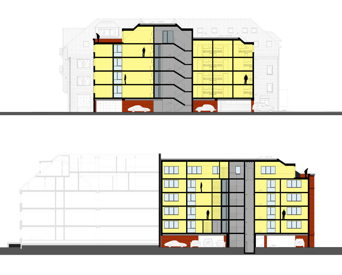 Section drawing of 'The Bank House' HMO in Tonbridge & Malling. SJM Planning.