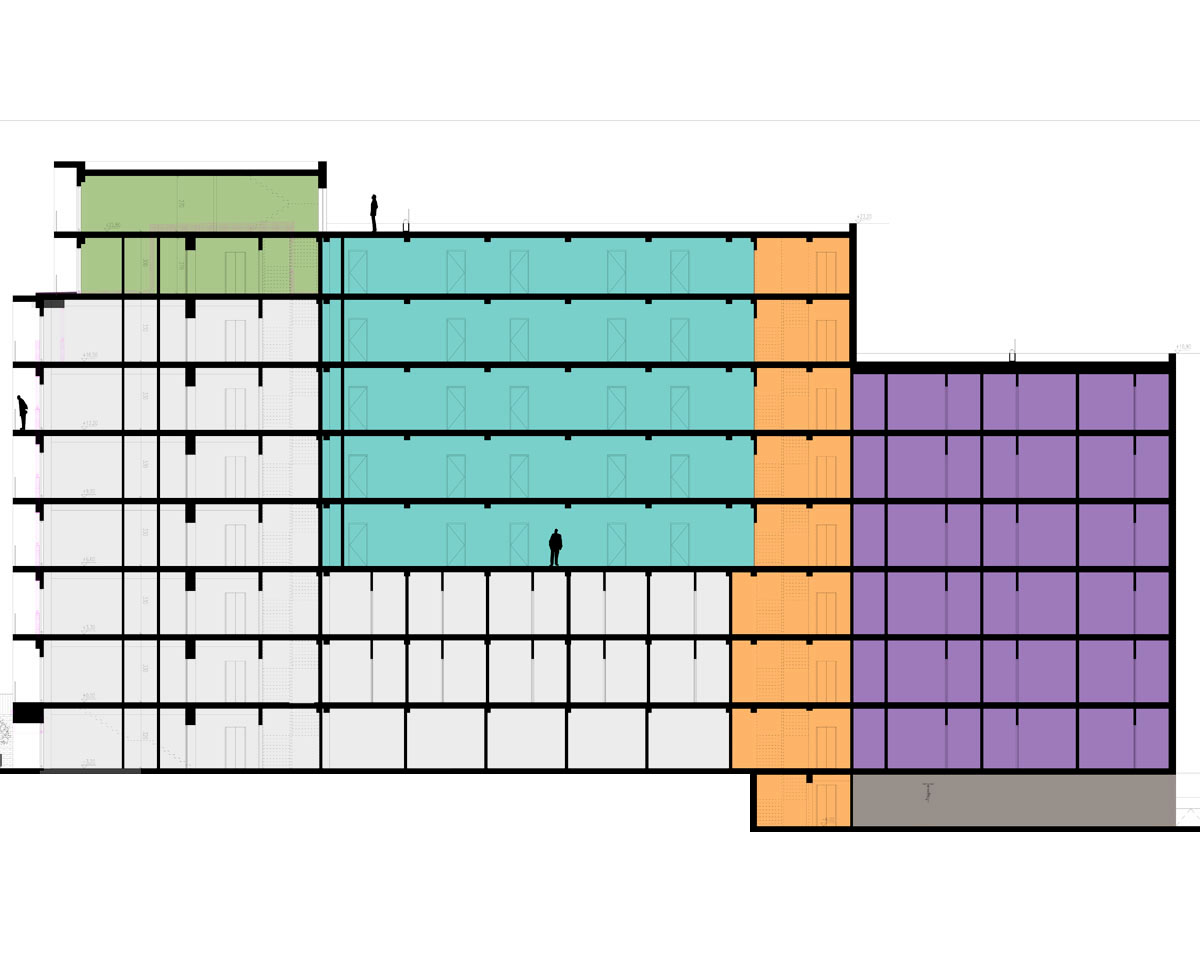 Section drawing of 'Vistec House' HMO in the London borough of Croydon. SJM Planning.